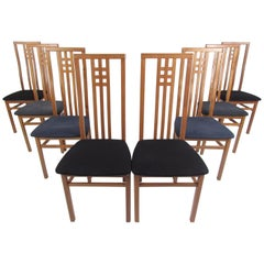 Midcentury Set of Eight Italian High Back Dining Chairs