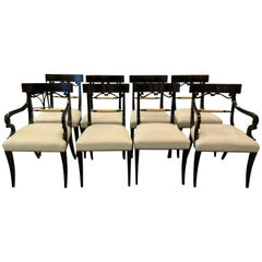Midcentury Set of Eight Regency Style Ebonized and Gilt Dining Chairs