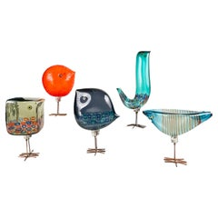 Midcentury Set of Five Pulcini 'Pulcino' Glass Birds, Alessandro Pianon, Vistosi