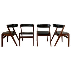 Midcentury Set of Four, Black Dining Room Chairs, Model Fire by Kai Kristiansen