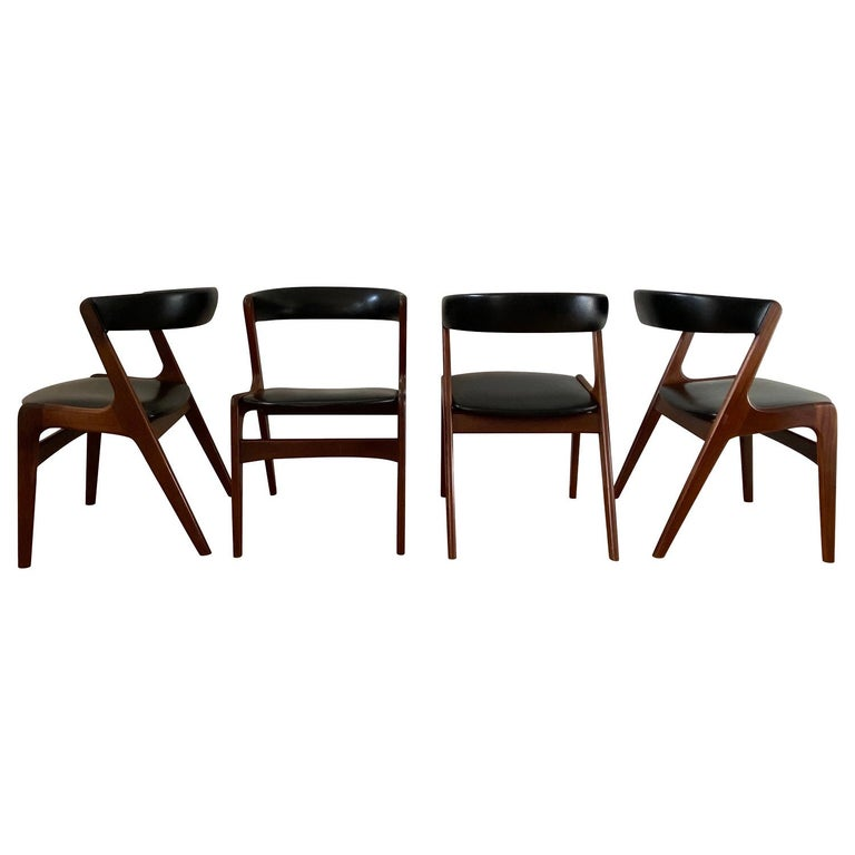 Midcentury Set of Four, Black Dining Room Chairs, Model Fire by Kai Kristiansen For Sale