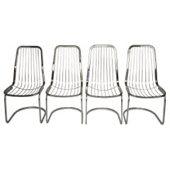 Midcentury Set of Four Chrome Dining Chairs by Gastone Rinaldi, Italy, 1970s