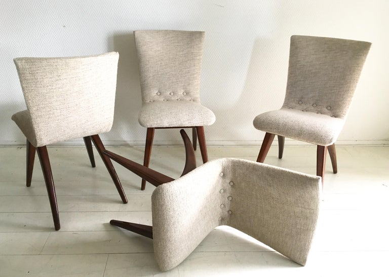 Mid-Century Modern Midcentury Set of four Dining Chairs, Model Swing by CJ van Os Culemborg For Sale