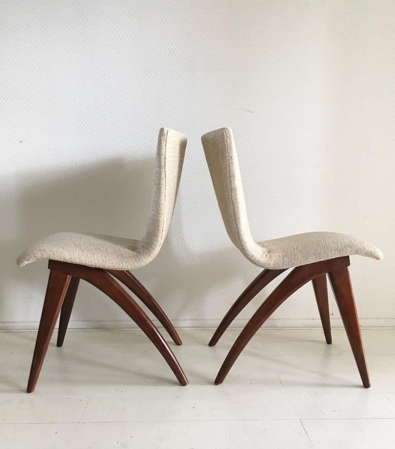 Fabric Midcentury Set of four Dining Chairs, Model Swing by CJ van Os Culemborg For Sale