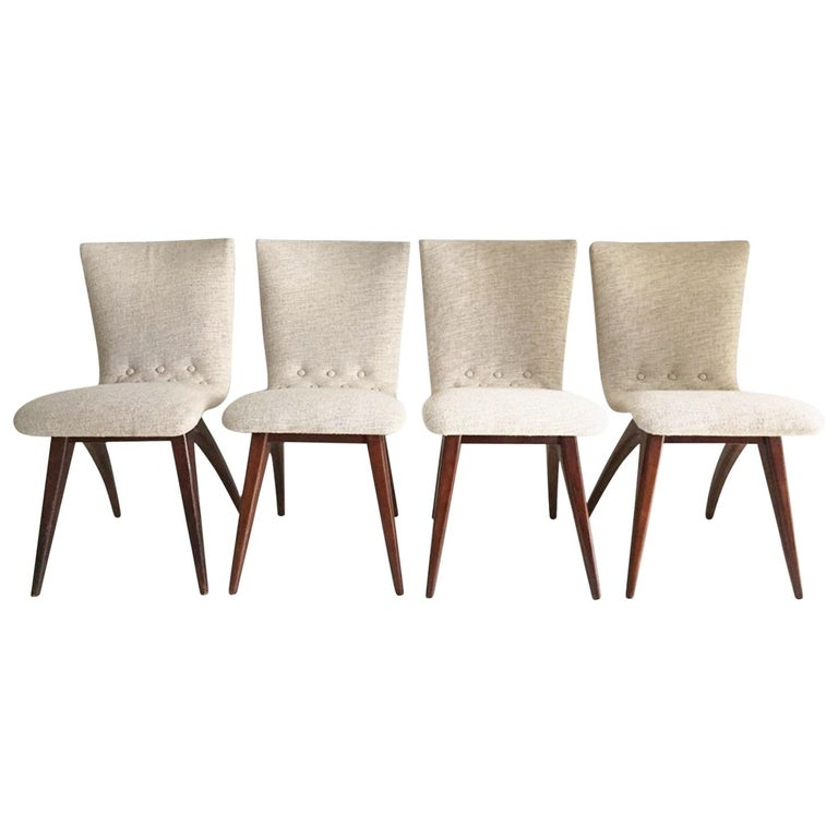 Midcentury Set of four Dining Chairs, Model Swing by CJ van Os Culemborg For Sale