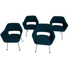 Midcentury Set of Four Green Armchairs