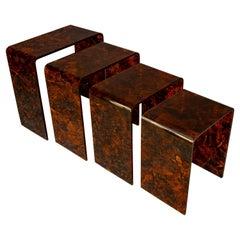 Midcentury Set of four Italian Nesting Tables in Faux Tortoise Shell, 1970