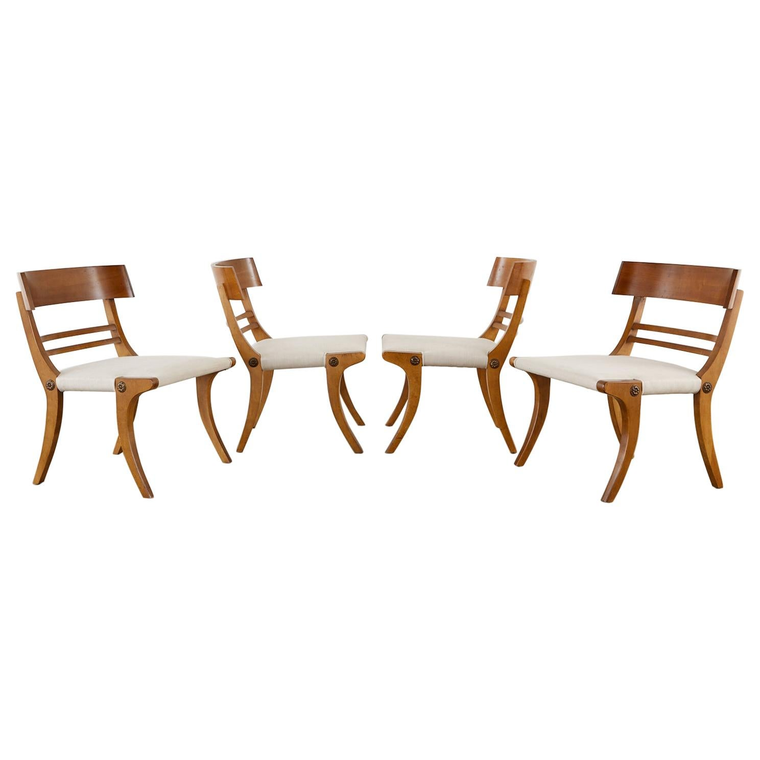 Midcentury Set of Four Neoclassical Style Klismos Chairs