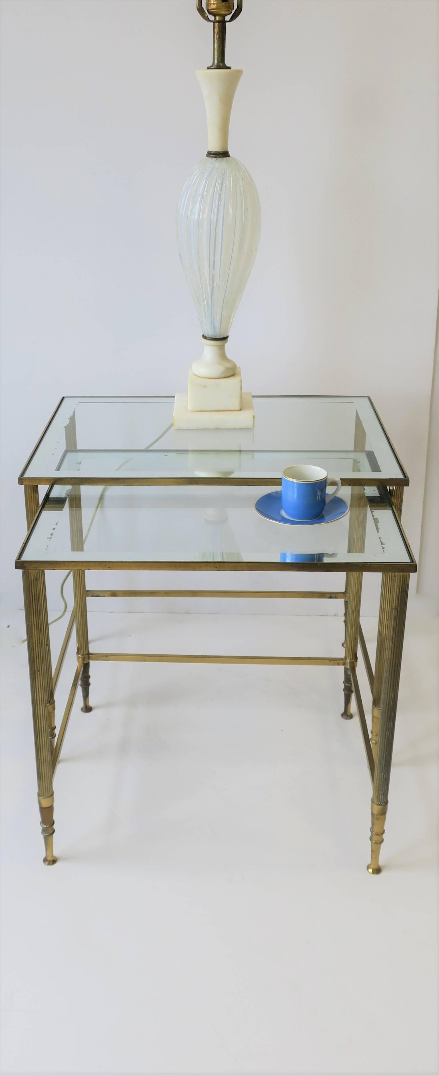 Italian Brass And Glass Nesting Or End Tables