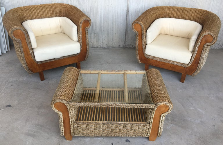 Midcentury Set of Rattan and Wood Big Lounge Armchairs   For Sale 4