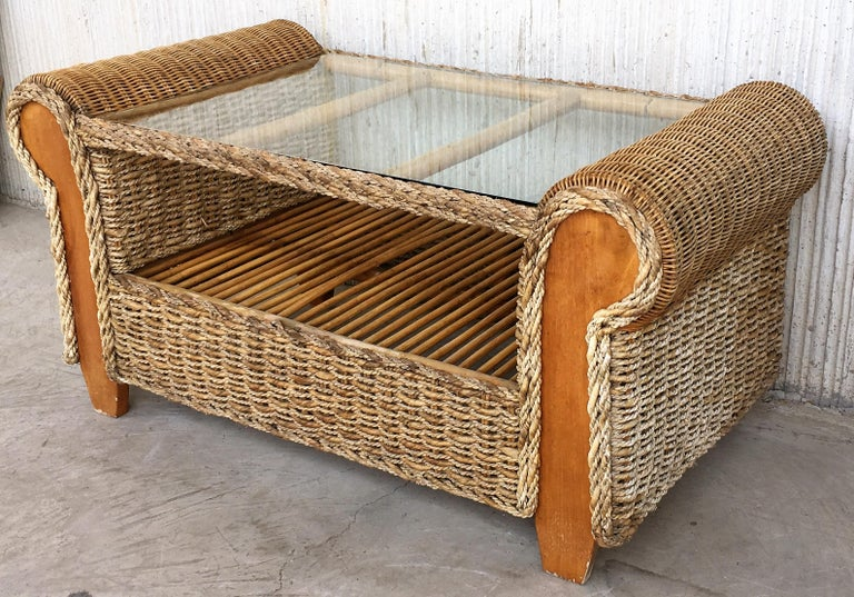 Midcentury Set of Rattan and Wood Big Lounge Armchairs   For Sale 5