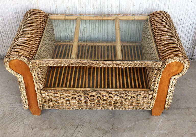 Midcentury Set of Rattan and Wood Big Lounge Armchairs   For Sale 6