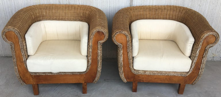 Midcentury set of rattan and wood big lounge armchairs for - Rattan living room furniture for sale ...