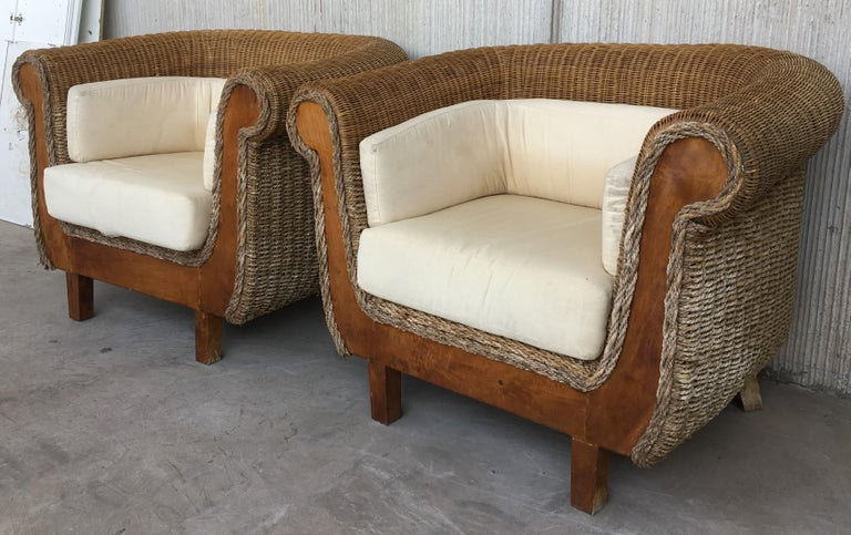 Mid-Century Modern Midcentury Set of Rattan and Wood Big Lounge Armchairs   For Sale