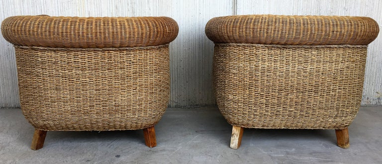 Italian Midcentury Set of Rattan and Wood Big Lounge Armchairs   For Sale