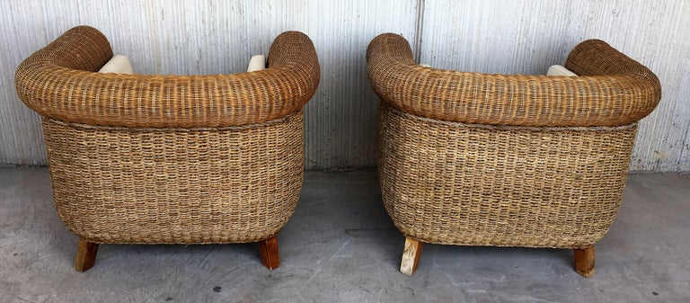 Midcentury Set of Rattan and Wood Big Lounge Armchairs   In Good Condition For Sale In Miami, FL