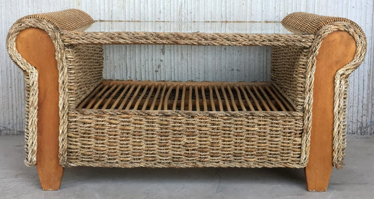 20th Century Midcentury Set of Rattan and Wood Big Lounge Armchairs   For Sale