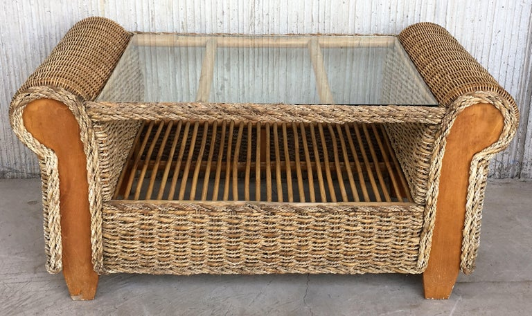 Midcentury Set of Rattan and Wood Big Lounge Armchairs   For Sale 1