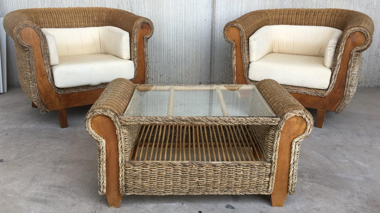 Midcentury Set of Rattan and Wood Big Lounge Armchairs   For Sale 2