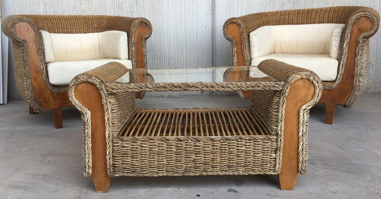 Midcentury Set of Rattan and Wood Big Lounge Armchairs   For Sale 3