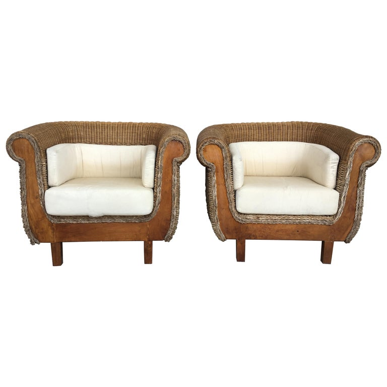 Midcentury Set of Rattan and Wood Big Lounge Armchairs   For Sale