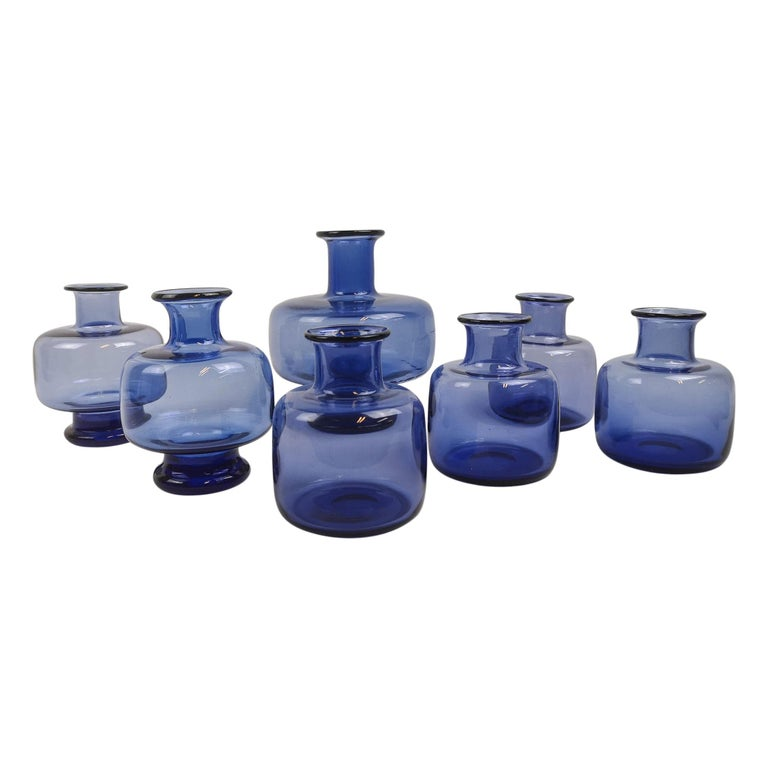 Midcentury Set of Seven Vases by Per Lutken for Holmegaard, Denmark For Sale