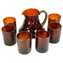 Midcentury Set of Six Amber Gold Murano Drinking Glasses with Jug, 1990