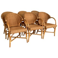 Midcentury Set of Six Bamboo and Rattan Dining Room Armchairs