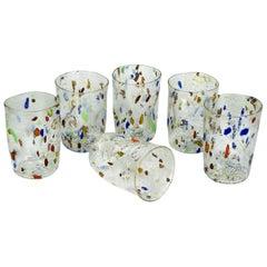 "Midcentury Set of Six ""Goti De Fornasa"" Colorful Murano Drinking Glasses Tumbler"