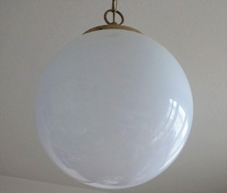 Midcentury Set of Three Italian Large Opaline Glass Ball Pendant, 1960s For Sale 4