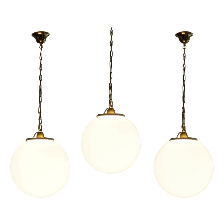 Art Deco Midcentury Set of Three Italian Large Opaline Glass Ball Pendant, 1960s For Sale