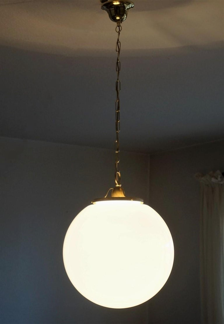 Mid-20th Century Midcentury Set of Three Italian Large Opaline Glass Ball Pendant, 1960s For Sale