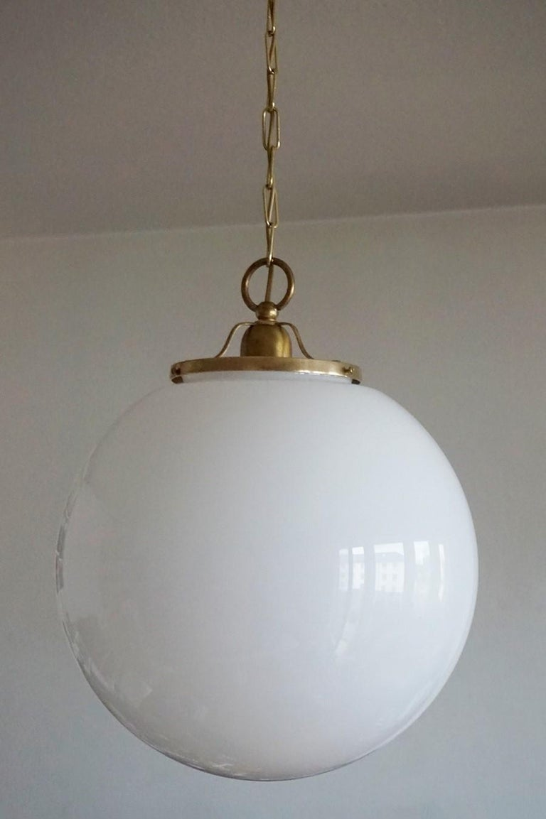 Midcentury Set of Three Italian Large Opaline Glass Ball Pendant, 1960s For Sale 1