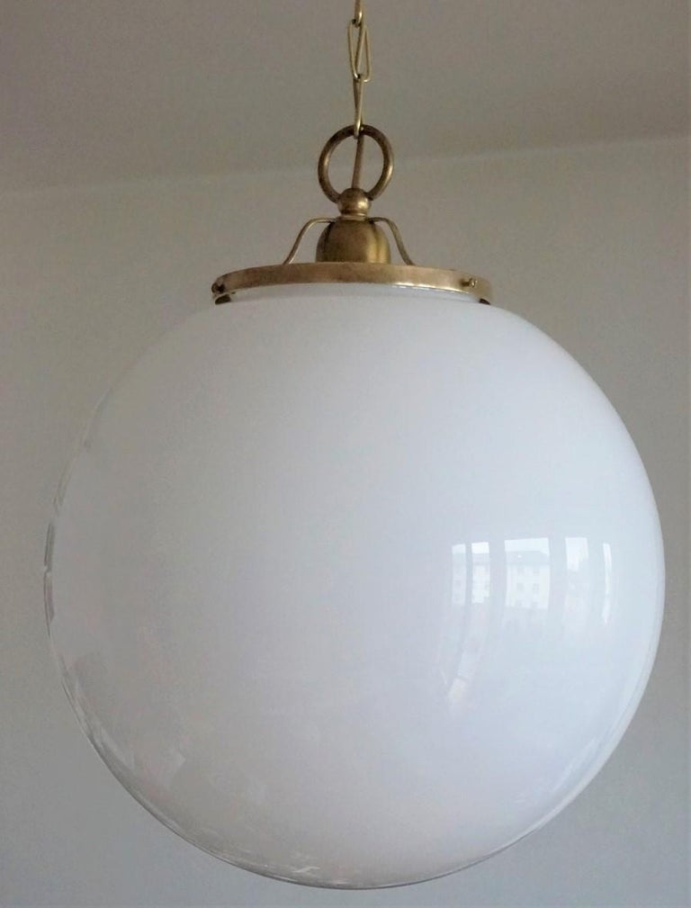 Midcentury Set of Three Italian Large Opaline Glass Ball Pendant, 1960s For Sale 2