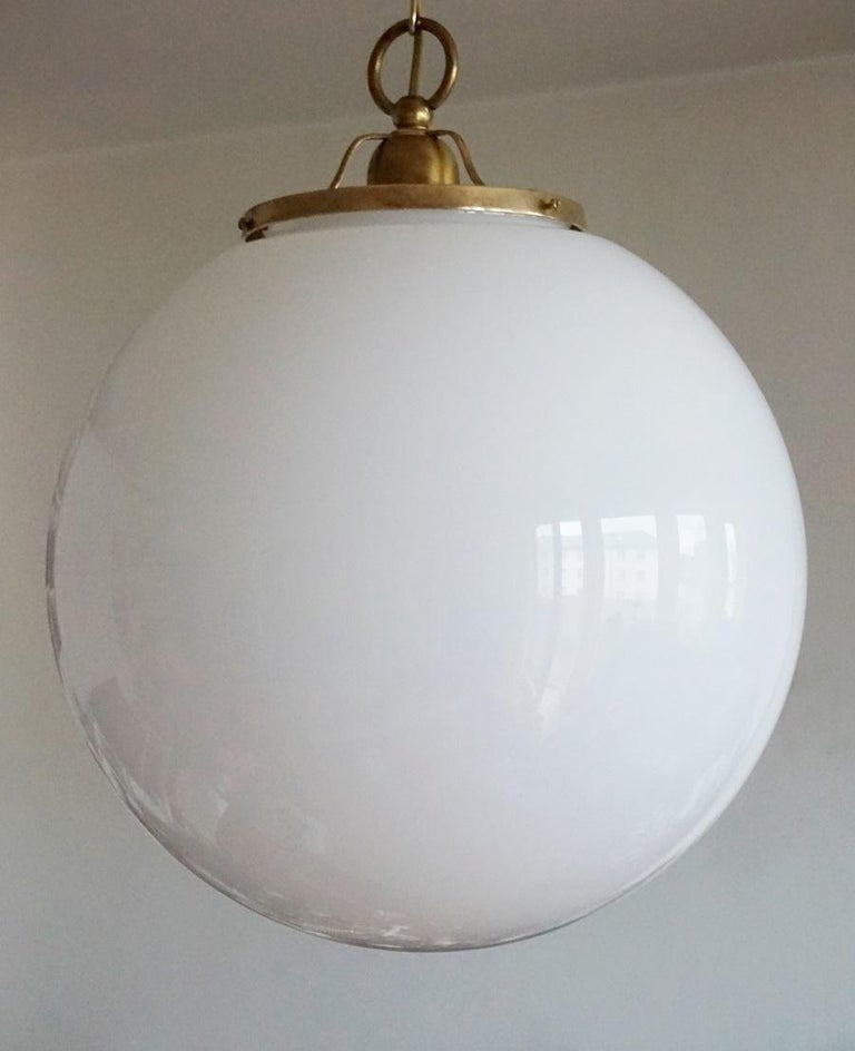 Midcentury Set of Three Italian Large Opaline Glass Ball Pendant, 1960s For Sale 3