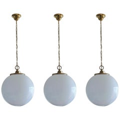 Midcentury Set of Three Italian Large Opaline Glass Ball Pendant, 1960s