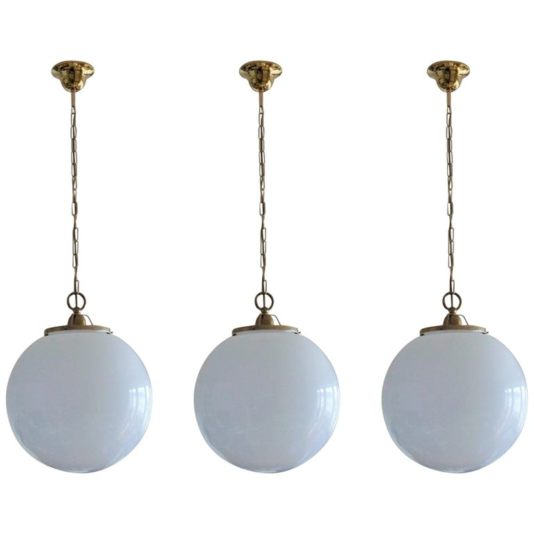 Midcentury Set of Three Italian Large Opaline Glass Ball Pendant, 1960s For Sale