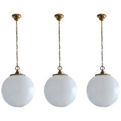 Midcentury Set of Three Italian Large Opaline Glass Sphere Pendant, 1950s