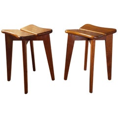 Midcentury Set of Two Oak Wood Stools by Marcel Gascoin, France, 1950