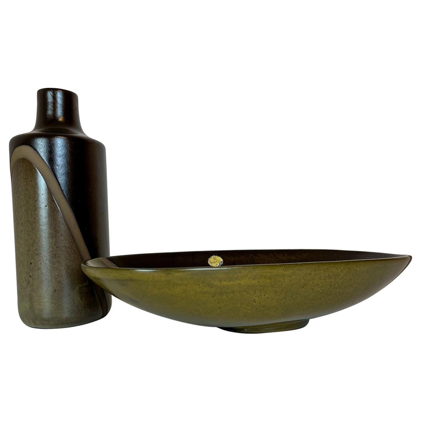 "Midcentury Set of Vase and Bowl ""Diagonal"" by Upsala Ekeby, Sweden, 1950s"