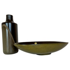 "Midcentury Set of Vase and Bowl ""Diagonal"" by Upsala Ekeby, Sweden, 1950s"