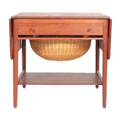 Midcentury Sewing Table in Solid Teak by Wegner, Danish Design, 1950s