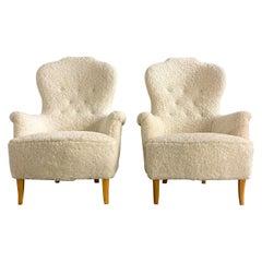 Midcentury Sheepskin Carl Malmsten Model 'Farmor' Set of 2 Lounge Chairs