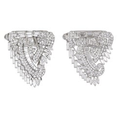 Diamond Platinum Midcentury Shield Double Clip Brooch Pair