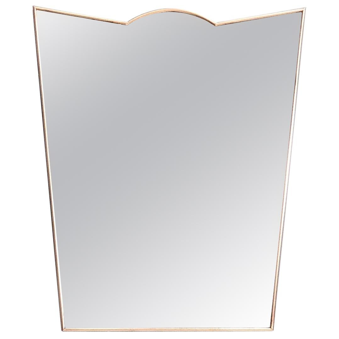 Midcentury Shield Shaped Wall Mirror with Brass Frame, Italy