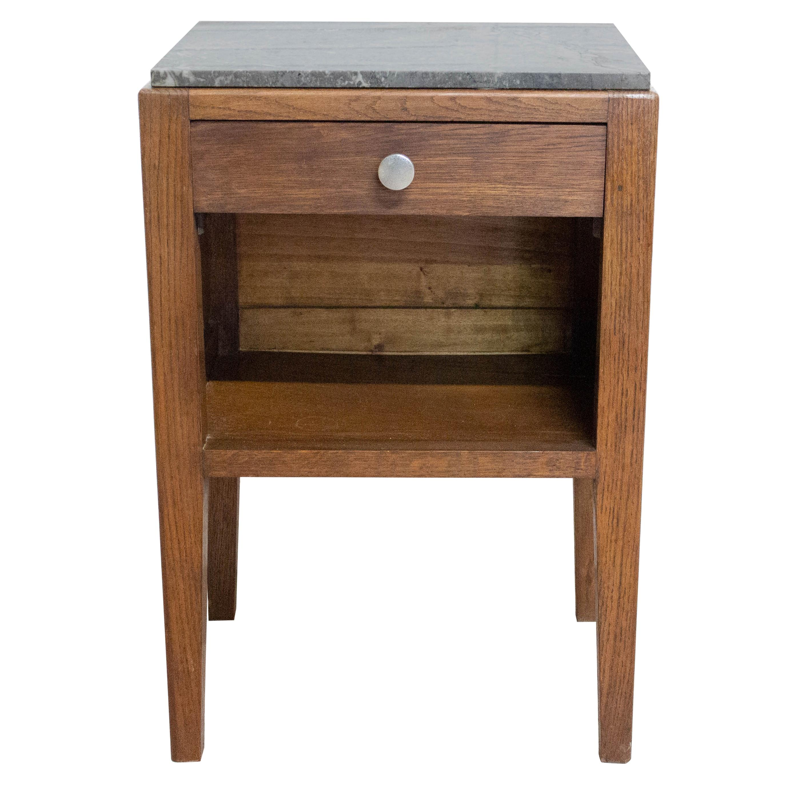 Midcentury Side Cabinet Nightstand French Bedside Table Grey Marble Top
