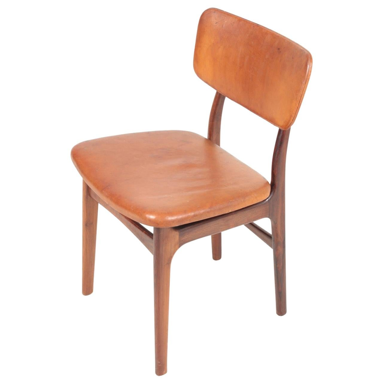 Midcentury Side Chair in Rosewood and Patinated Leather by Gustav Bertelsen
