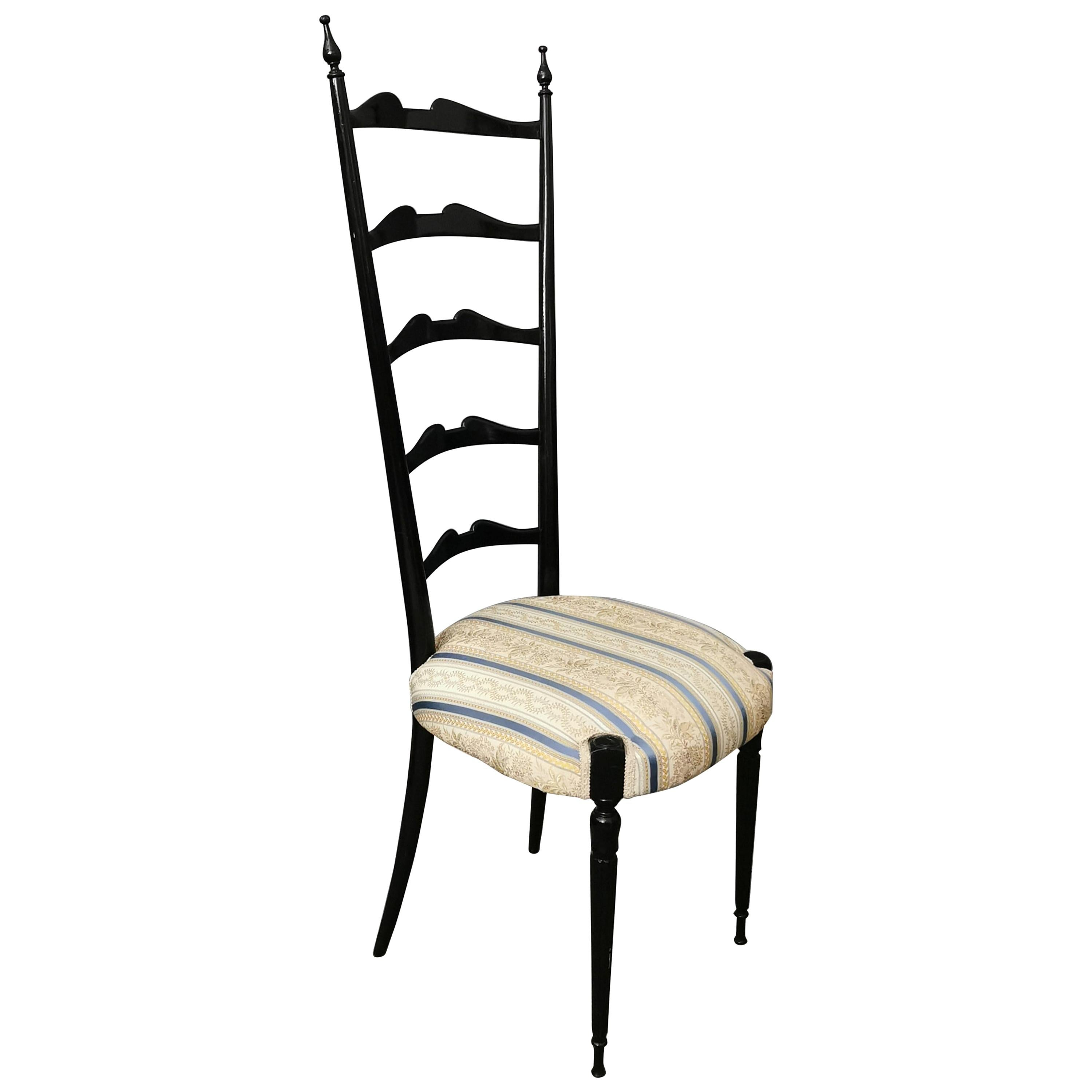 Mid Century Chair in Black Wood Damask Fabric by Chiavari Italy 1950s