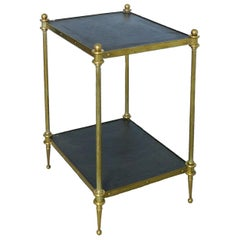 Midcentury Side Table Maison Baguès Style Two-Tier Leather Tops Gilt Brass