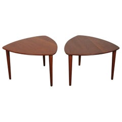 Midcentury Side Tables in Solid Teak by Rastad & Relling for Gustav Bahus